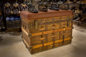 Skechers Custom Trunk Seating bench with custom leather cushion