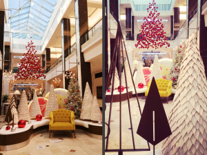 Westfield Montgomery Mall - Santa reception area includes custom metal & felt trees, snow, platforms and Sant seat.